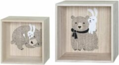 BLOOMINGVILLE MINI SQUARE DISPLAY BOXES SET OF 2 BEAR / BUNNY