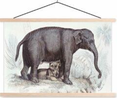 TextilePosters Een illustratie van een olifant met een baby schoolplaat platte latten blank 120x80 cm - Foto print op textielposter (wanddecoratie woonkamer/slaapkamer)