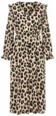 Zandkleurige PIECES maxi jurk PCSNOLLY met all over print zand/zwart