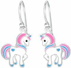Oorbellen meisje | Kinderoorbellen meisje zilver | Eenhoorn oorbellen | Zilveren oorhangers met eenhoorn, roze en blauw | WeLoveSilver