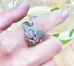 Marutti zilveren ring met rozenkwarts.