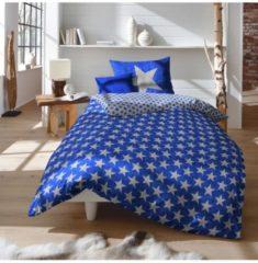 Biber Bettwäsche Sterne blau Fleuresse indigo