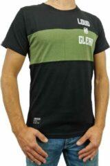 LOUD AND CLEAR T Shirt Heren Zwart Groen - Ronde Hals - Korte Mouw - Met Print - Met Opdruk - Maat XS