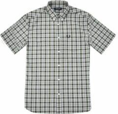 Groene Fred Perry Small Check Shirt Small Check Shirt Heren Overhemd Maat S