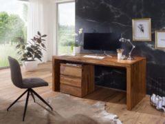 Wohnling Schreibtisch BOHA Massiv-Holz Sheesham Computertisch 160 cm breit Echtholz Design Ablage Büro-Tisch Landhaus-Stil