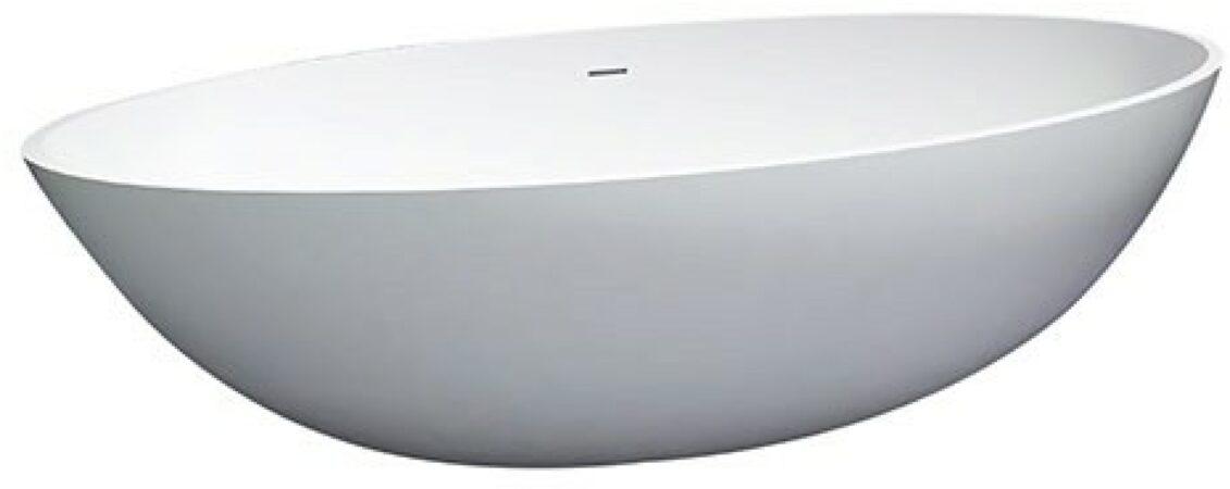 Afbeelding van Douche Concurrent Ligbad Vrijstaand Solid Ovaal 85x180x50cm Solid Surface Mat Wit met Badwaste en Overloop