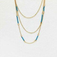 Fashionvibe.nl Fashionidea - Mooie goudkleurige ketting multi layher met turquoise kralen