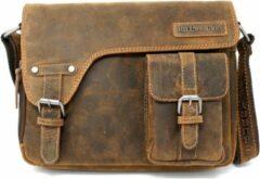Hillburry Buffel Lederen Messenger tas - schoudertas - crossbody tas - Bruin / Cognac