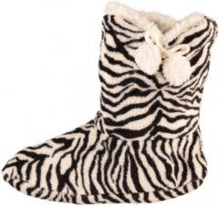 Bellatio Hoge dames slof sokken met zebra print zwart/wit 37-39