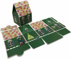 Presentdoosjes.nl Presentdoosje Kersthuisje groen, groot: 13,2x10,6x18,5cm (10 stuks)