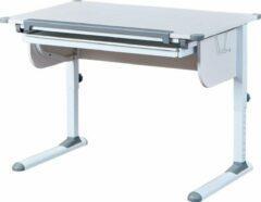 Hioshop Stog bureau met hef-/daalplaat en 1 lade wit en grijs.