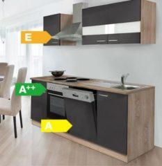 Respekta kitchen economy Respekta Küchenzeile KB220ESG 220 cm Grau-Eiche Sägerau Nachbildung