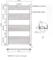 BWS Designradiator Boss & Wessing Vertico Multirail 100x60 cm Wit Zij-Onderaansluiting