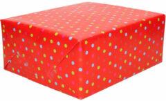 Duni 1x Inpakpapier / Cadeaupapier Rood Met Gekleurde Stippen 200 X 70 Cm - Cadeauverpakking Kadopapier