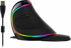Zwarte Delux M618 Plus Bedrade Verticale Muis met RGB Licht instellbare DPI 800-4000 - Anti RSI Muis