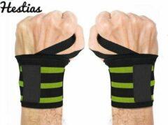 EXTRA STERK- 2x Polsband - Set - Geel - 2 Wrist Wraps - Fitness – Krachttraining - CrossFit, Bootcamp - Yoga Polsband - Sporten - Polsen Versterking - Hestias®