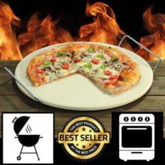 Witte Decopatent Grillmeister - Pizzasteen voor Bbq of Oven - Ø33 cm - Pizzasteen met handvat - Barbecue of in oven - Pizzaplaat - Pizza Stone Rond