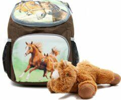 B&B Slagharen Rugzak Paard en Veulen - 30 x 21 x 11 cm - Bruin - Rugtas Meisjes - rugtas Jongens -incl Paarden knuffel - pluche Pony 22 cm - bruin