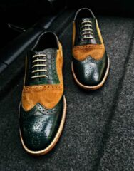 Pantera Pelle Leather Shoes Volledig Lederen Herenschoen, groen, maat 45