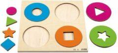 Rolf Reliëfpuzzel Cirkels en vormen - houten puzzel - 8 stukjes - voor kinderen vanaf 3 jaar