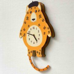 Merkloos / Sans marque BEWEGENDE Kinderklok Cheeta oranjegeel 3D | STIL UURWERK | bewegende dieren wandklok van hout voor kinderkamer | decoratie accessoires | jongens en meisjes slaapkamer