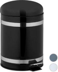 Relaxdays pedaalemmer 5 liter - prullenbak met deksel - vuilnisbak - binnenemmer - rvs zwart