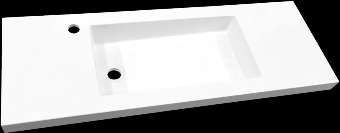 Afbeelding van Douche Concurrent Meubelwastafel Slim Rechthoek 120x35,3x5cm Polybeton Glans Wit 1 Kraangat
