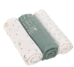 Lässig Heavenly soft Swaddle doek L Garden Explorer boys 3 stuks 80 x 80 cm dekentje slab