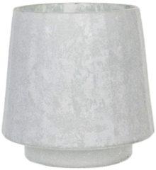 Clayre & Eef Glazen Theelichthouder 6GL2952 Ø 13*13 cm - Wit Glas Waxinelichthouder Windlichthouder