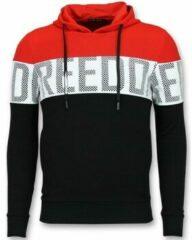 Enos Striped Hooded Sweatshirt - Hoodie met Capuchon - Rood - Maten: XS