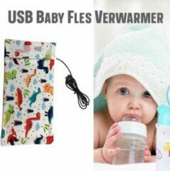 Allernieuwste USB Baby Fles Warmer model Dinosaurus - Heater - Reisaccessoire - Draagbaar - Klittenband - Kleur