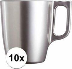 Luminarc 10x Zilveren koffie bekers/mokken 250 ml