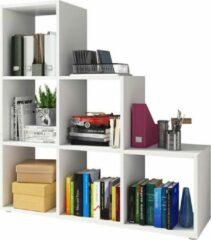 Maison Woonstore Maison's Boekenkast – Boekenrek – Boekenkast trapvormig – Vakkenkast – Wit – 3x3 – 105x103x32