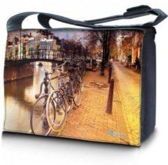 Bruine False Sleevy 15,6 laptoptas / messenger tas Amsterdam