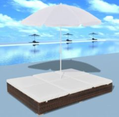VidaXL Loungebed met parasol poly rattan bruin