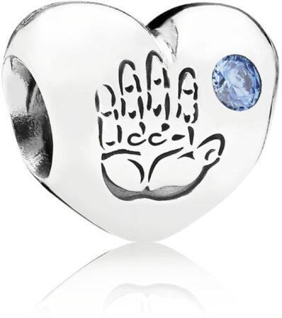 """Afbeelding van Blauwe Pandora Zilveren Bedel met Zirkonia""""Baby Boy"""""""