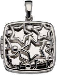 Zilveren Lifetime love medaillon - zilver gerodineerd - afgeronde vierkant - opengewerkte sterren - 22 x 22 mm