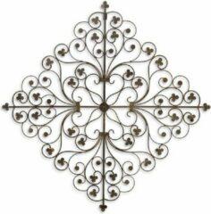 Bruine Trendybywave Wanddecoratie - Gietijzeren Bloemen Ornament - Set van 2 - 67 cm breed