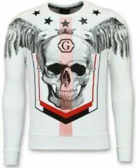 Enos Mannen Sweater - Doodskop Crewneck - Ster Skull Trui - Wit Sweaters / Crewnecks Heren Sweater Maat XS
