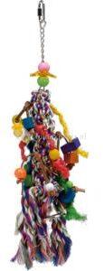 Afbeelding van Pet products katoenen vogelspeelknots met fun onderdelen, voor parkietachtige vogels
