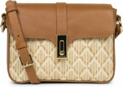 Schouder/Crossbody tas LANCASTER Paris Actual Graphic - leer - Camel - Beige
