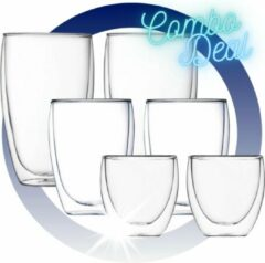 Witte ECO Design 6 Delige set van Dubbelwandige Glazen - 250ML - 350ML - 450ML - Theeglazen - Koffieglazen