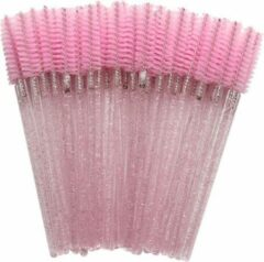 HMQ beauty Wegwerp Wimper en Wenkbrauw Borsteltjes - Mascara Borsteltjes - Roze glitter - 50 stuks