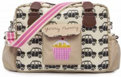 Pink Lining Luiertas Yummy Mummy Auto's Bruin - Creme - Roze - 38 x 28 cm
