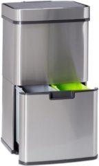 Zilveren Relaxdays Afvalscheidingprullenbak 3 vakken - recycle - afval scheiden - prullenbak sensor