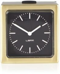Gouden LEFF amsterdam LT90301 - Block Clock - Brass/Black - Alarm -Design - Desk or Shelf Clock