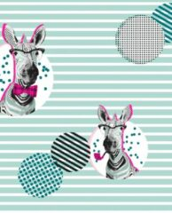 Blauwe MTis Cadeaupapier Zebra Mint Neon- Breedte 70 cm - 200m lang - K601569/4-70cm-200Mtr