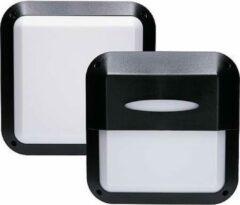 EGB LED Buitenlamp - Zwart - Vierkant - E27-fitting - IP66 - IK10 - met 2 afdekkingen