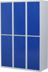 Povag Lockerkast metaal met slot - 6 deurs 3 delig - Grijs/blauw - 180x120x50 cm - LKP-1056