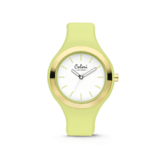 Colori Watches Colori Macaron 5 COL434 Horloge - Siliconen Band - Ø 42 mm - Licht Groen / Goudkleurig